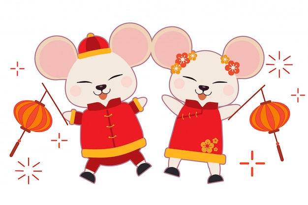 The character of cute mouse wear chinese suit and dacing on the white background.