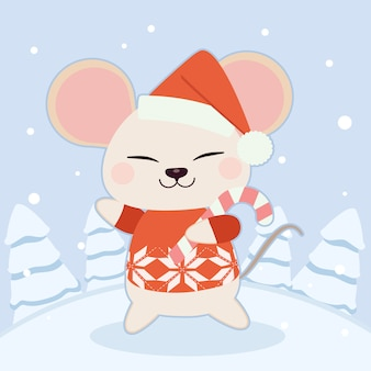 The character of cute mouse wear a winter hat and red sweater