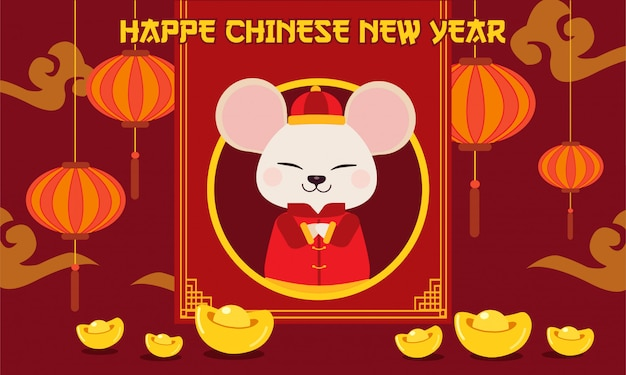 The character of cute mouse with chinese gold and chinese cloud.