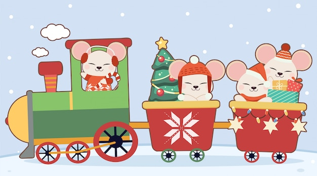The character of cute mouse with christmas train