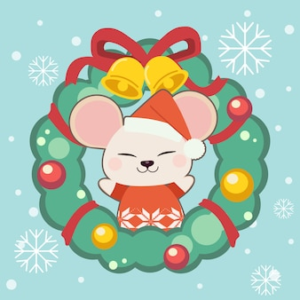 The character of cute mouse with a christmas wreath