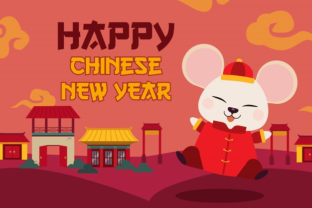 The character of cute mouse with house look like a village and chinese cloud.