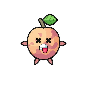 Character of the cute pluot fruit with dead pose , cute style design for t shirt, sticker, logo element
