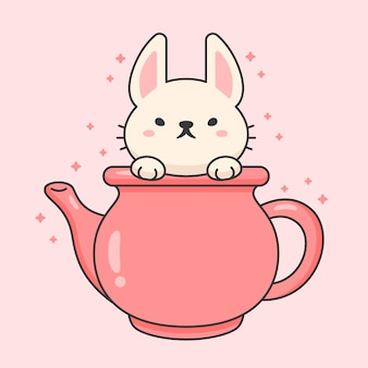 Character of cute rabbit in a ceramic tea kettle
