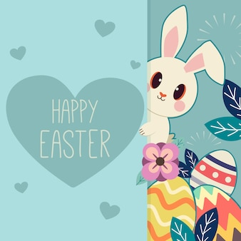 The character of cute rabbit with a easter egg in the flower garden