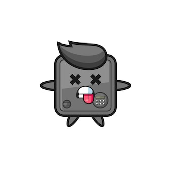 Character of the cute safe box with dead pose , cute style design for t shirt, sticker, logo element