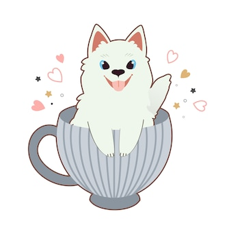 The character of cute samoyed dog in the big blue cup with heart and star.