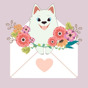 Character of cute samoyed dog sitting in the letter with heart sticker and flower on purple