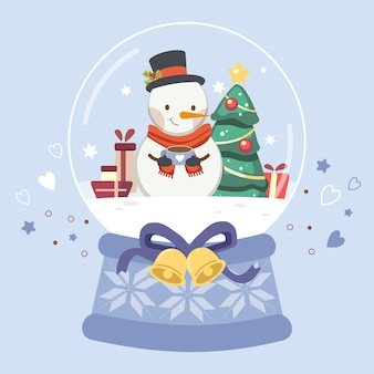 The character of cute snowman in the snow globe.