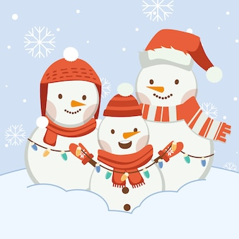 The character of cute snowman with friends or family. the character of cute snowman wear winter hat ans scarf and winter gloves and light bulb in flat vector style.