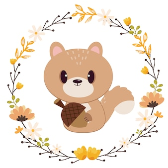 The character of cute squirrel holding the oak seed in ring of flower.