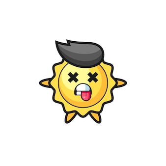 Character of the cute sun with dead pose , cute style design for t shirt, sticker, logo element