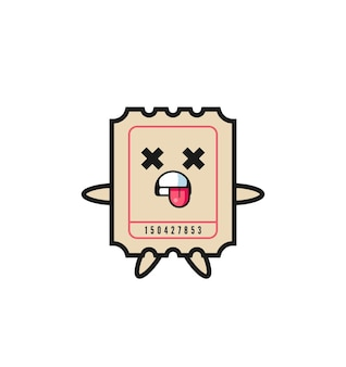 Character of the cute ticket with dead pose , cute style design for t shirt, sticker, logo element