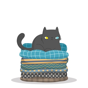 Character design cat sitting on top of a pile of pillows.