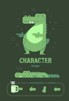 Character design . crocodile character . crocodile vector illustration