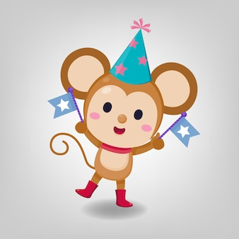 Character design. cute rat wearing party hat on white