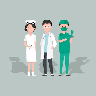 Character design doctor and nurse on green background. illustration in flat styles.