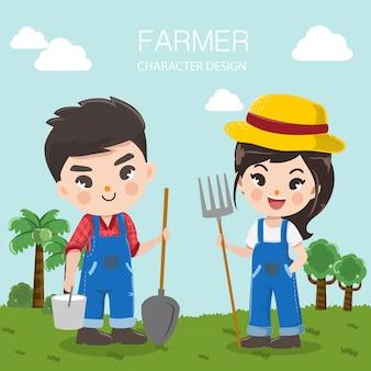 農家の男の子と女の子と家畜農場のキャラクターデザイン