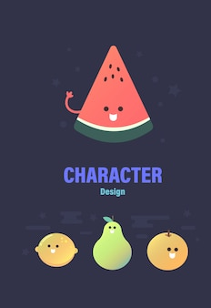 Character design . fruit  character . fruit vector illustration