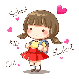 Character design of little girl student go to school