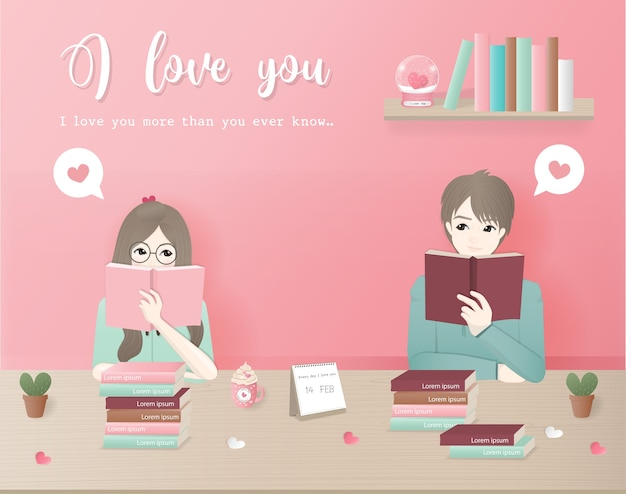 Character design love concept with couple reading books