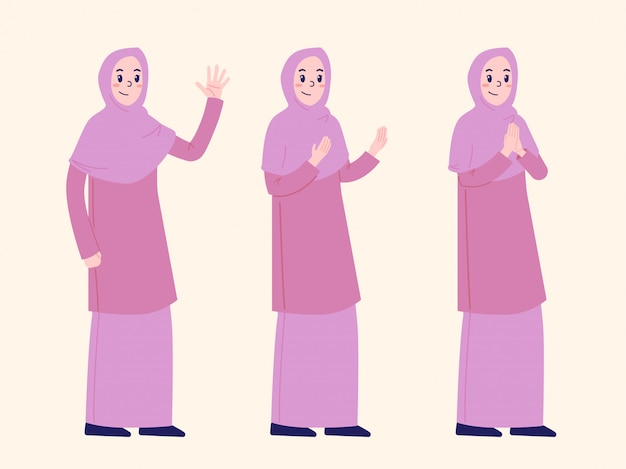 Дизайн персонажей мусульманская женщина специальный рамадан