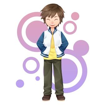 Дизайн персонажей улыбающегося мальчика