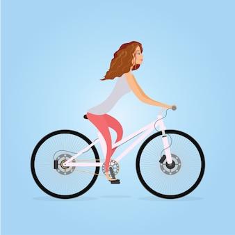 大人の若い女性の自転車のキャラクターデザイン。