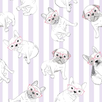 Character design pattern background of head bulldog