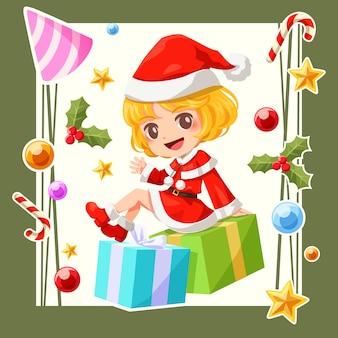 Character design of santa claus girl
