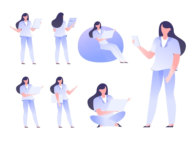 Character design set office startup businessman male female  flat style