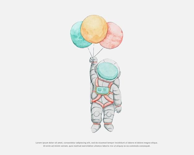 캐릭터 디자인 수채화 귀여운 우주 비행사 일러스트 레이션