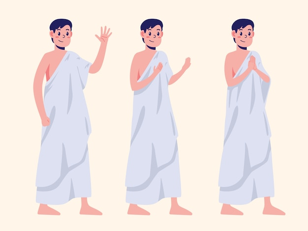 Character designs of men dressed in hajj clothes