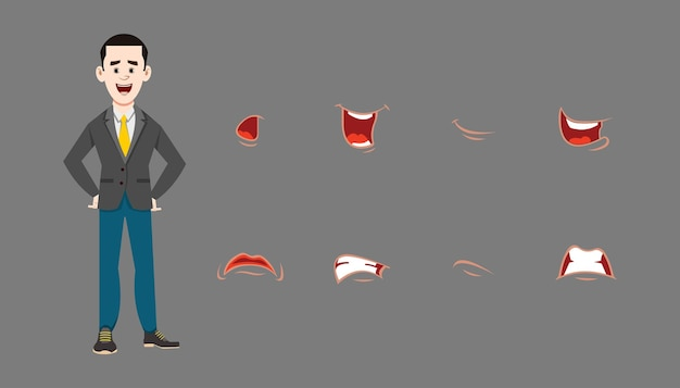 Character different facial expression set. different emotions for custom animation