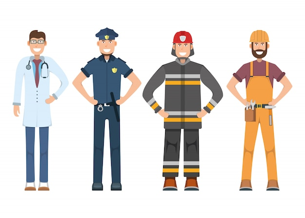 Character doctor, policeman, worker, firefighter standing isolated on white, flat illustration. human male important professional activity, smiling people profession, social occupation.