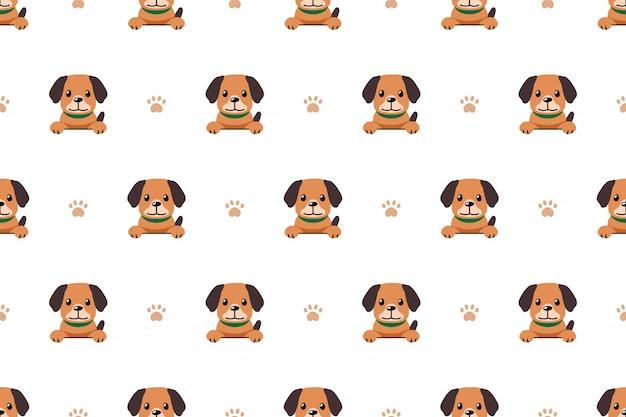 キャラクター犬のシームレスなパターン背景