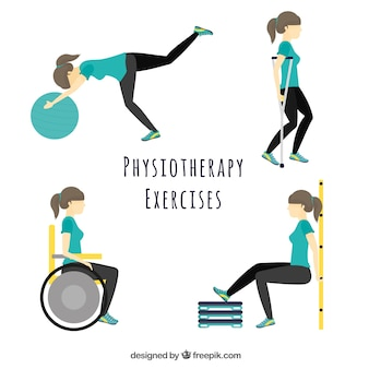 Character doing different physiotherapy exercises