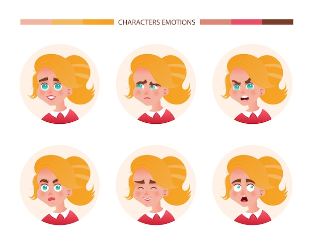 Character emotions avatar girl with red hair. emoji with different woman facial expressions joy crying anger surprise laughter fright. vector illustration in cartoon style