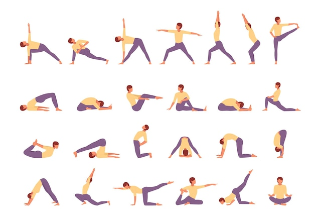 Character engaged fitness yoga large set illustration