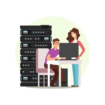 Персонажи-инженеры, работающие с сервером