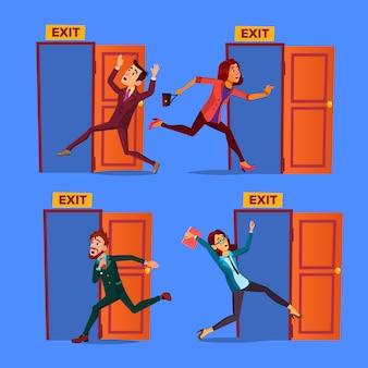 Character evacuation to open door exit set