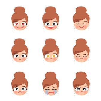 Character face emotions cute