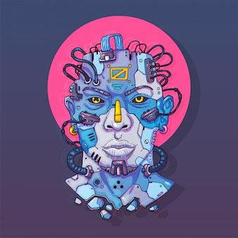 Character face in futuristic virtual style. cyber punk  illustration. cartoon art for web and print. trendy cyber art .