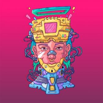 Лицо персонажа в футуристическом виртуальном стиле. кибер панк иллюстрация. мультипликационное искусство для сети и печати. модный кибер арт.