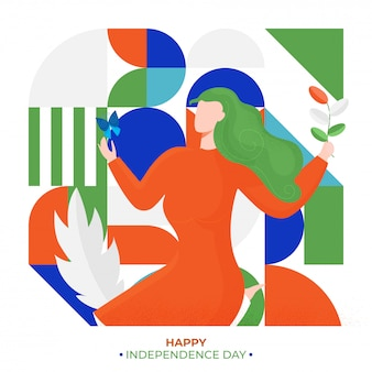 Character of faceless woman holding plant on colorful abstract background for happy independence day celebration poster.