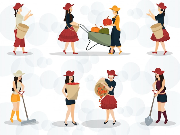 Character of a fashionable lady doing work in different pose on