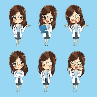 Character female doctors show a variety of gestures, words and emotions.