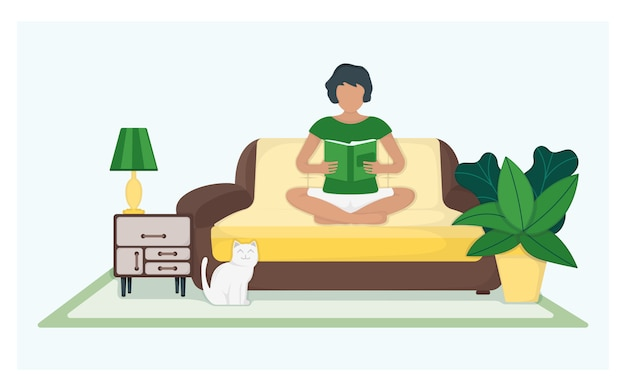 文字女性座っているソファと緑の葉の鍋と猫、青、フラットの図に分離された女性の残りの本を読んでください。