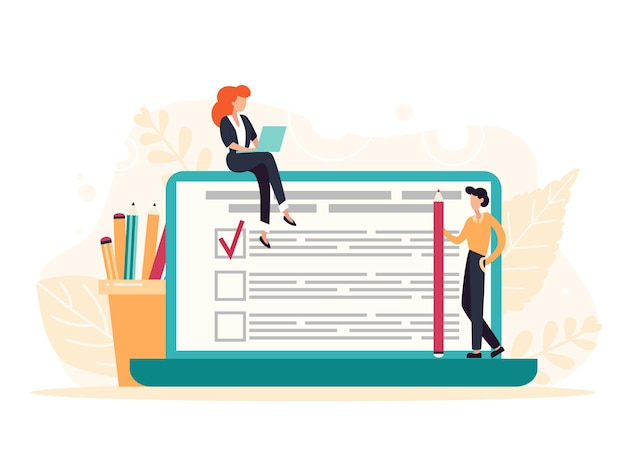 巨大なノートパソコンの画面でオンライン調査フォームに記入する文字。小さな人々とのビジネスコンセプト。インターネットアンケートフォーム。フラットベクトルイラスト。