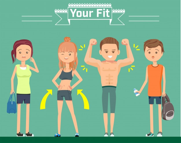 Character flat style in gym